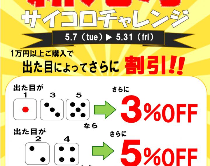 「ウオッチタウン新松戸店限定」GO!GO!新元号!サイコロチャレンジ!