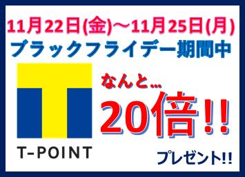 11/22(金)~11/25(月)Tポイント20倍!