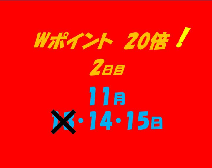 Wポイント20倍キャンペーン 2日目!